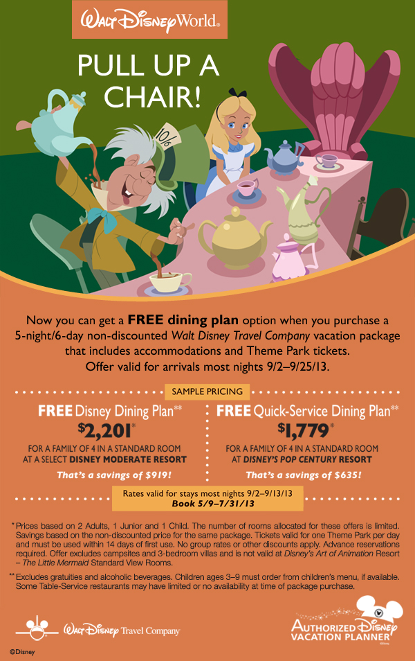 Free Dining at Disney World for most of September 2013