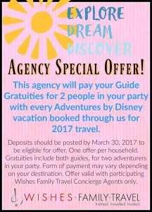 Our Special Offer for Luxury Adventure By Disney travels in 2017!