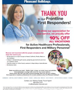 An Offer for Active Healthcare Professionals, First Responders and Military Personnel from Pleasant Holidays